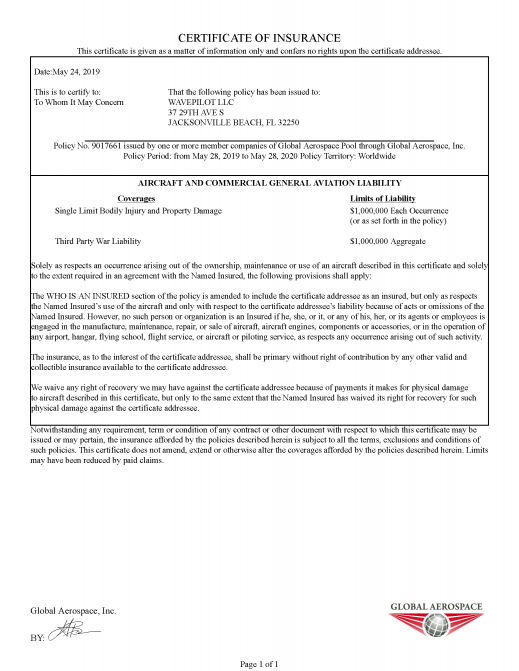 Wavepilot Aerial Insurance Certificate